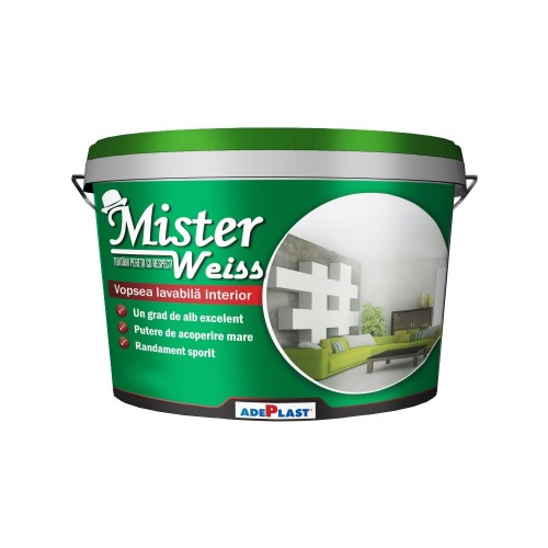 Vopsea Lavabila Mister Weiss New 8l Adeplast