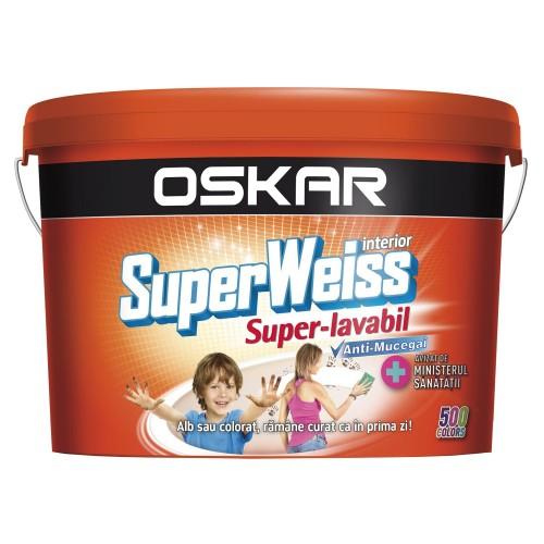 Vopsea Lavabila Alb Superweiss 8.5 L Interior Anti Mucegai Labm50 Oskar